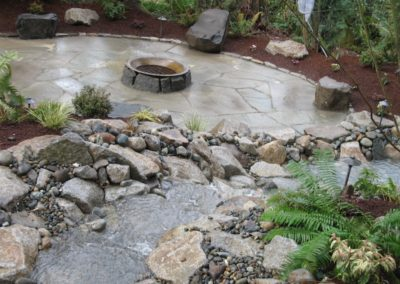 Waterfall, Firepit and Stone Seating
