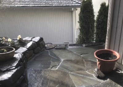 Slate Patio and Rock Wall Edging