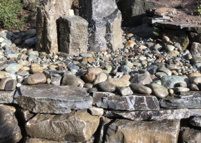 Stone Wall with Rock Fountain Feature